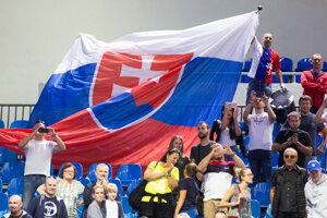 Radosť fanúšikov Slovenska po výhre nad Švajčiarskom v Davisovom pohári 2019.