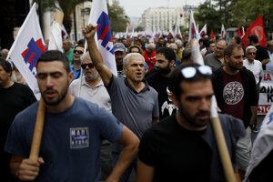 Protest v Grécku proti úsporným opatreniam a privatizácii.