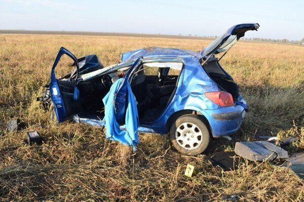 Auto zničené po vážnej nehode.