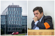 Sídlo investičnej skupiny Penta v bratislavskej Petržalke a obžalovaný Marian Kočner počas hlavného pojednávania v kauze falšovania zmeniek TV Markíza.