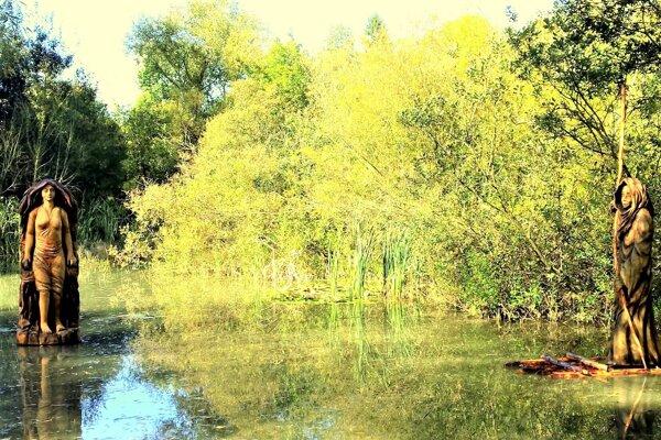 Drevené sochy na jazierku v Košútoch.