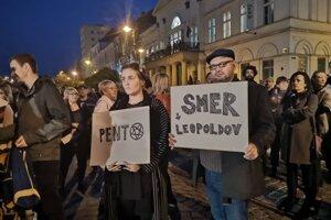 Protestujúci v Košiciach