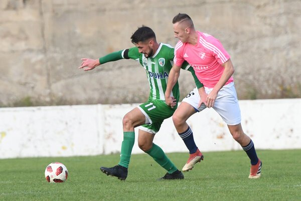 Kanonier Kristián Hirka (vľavo) dal jeden gól Prešova.