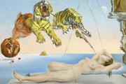 Salvador Dalí: Sen vyvolaný letom včely okolo granátového jablka, sekundu pred precitnutím, 1944. (Detail)