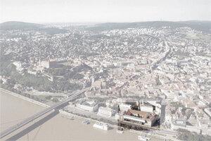 Zakreslenie areálu v situácii mesta na nábrežnej promenáde Bratislavy