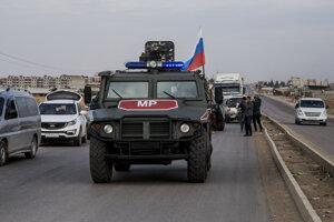 Patrola ruskej vojenskej polície v sýrskom meste Kámišlí.