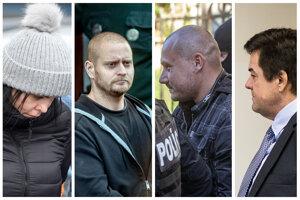 Obžalovaní z vraždy Jána Kuciaka a jeho snúbenice: Alena Zsuzsová, Miroslav Marček, Tomáš Szabó a Marian Kočner.