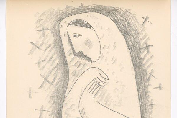 Mikuláš Galanda: Dedinčanka na cintoríne, 1938.
