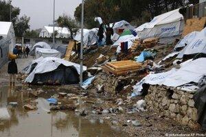 Utečenecký tábor Moria v Grécku.