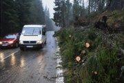 Cestu 1. triedy pri Ždiari lemujú popadané a polámané stromy.