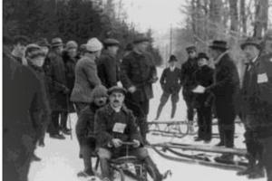 Preteky na košickej sánkarskej dráhe vroku 1910.
