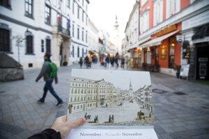 Pohľad na Michalskú ulicu okolo roku 1850 a dnes.