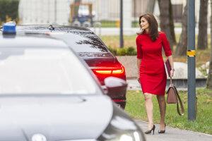 Na snímke ministerka zdravotníctva Andrea Kalavská prichádza na stretnutie s premiérom Petrom Pellegrinim.