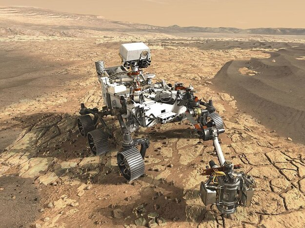 Vizualizácia roveru Mars 2020 na Marse.
