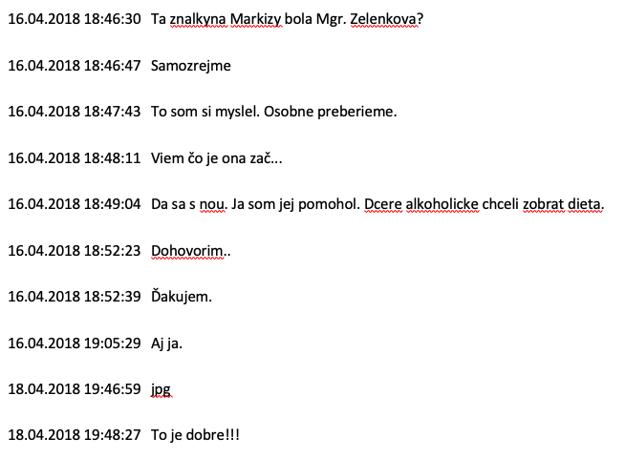 Kľúčová časť prečítanej komunikácie medzi Michalom Mandzákom a Marianom Kočnerom.