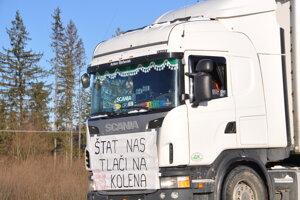Protest oravských autodopravcov.