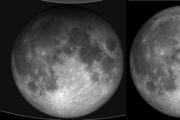 Vľavo Mesiac počas polotieňového zatmenia, vpravo Mesiac mimo tieňa.