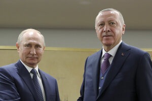 Ruský prezident Vladimir Putin a jeho náprotivok turecký prezident Recep Tayyip Erdogan.