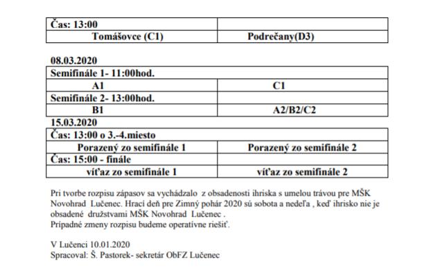 Rozpis zápasov Zimného pohára ObFZ Lučenec 2020.