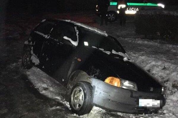 Auto skončilo v járku.