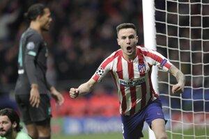 Saúl Niguez sa raduje v zápase Atlético Madrid - Liverpool FC.
