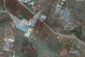 Satelitná snímka ukazuje oblasť blízko mesta Deir Hassan na severe Sýrie blízko hraníc s Tureckom 5. februára 2019.