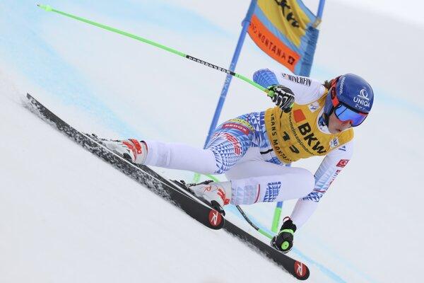 Petra Vlhová počas prvého kola alpskej kombinácie v Crans Montane.