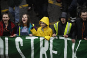 Greta Thunbergová na štrajku v Bristole.