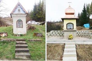Vľavo stará, vpravo vynovená kaplnka.
