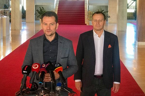Igor Matovič a Boris Kollár po rokovaniach po parlamentných voľbách 2020.