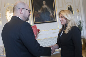 Voľby 2020: Zuzana Čaputová a predseda strany SaS Richard Sulík počas stretnutia k výsledkom volieb.