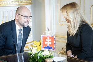 Voľby 2020: Richard Sulík a prezidentka SR Zuzana Čaputová počas prijatia predsedu strany SaS v Prezidentskom paláci.