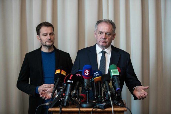 Voľby 2020: Andrej Kiska a Igor Matovič po spoločnom rokovaní.