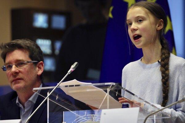 Vystúpenie Grety Thunbergovej v europarlamente.