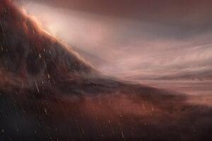 Umelecká predstava o železnom daždi na planéte WASP-76b.