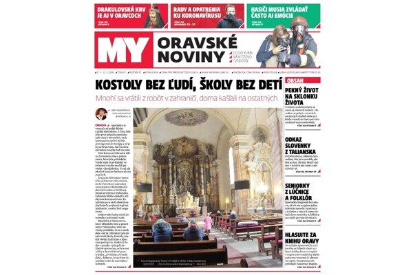 Aktuálne vydanie týždenníka MY Oravské noviny
