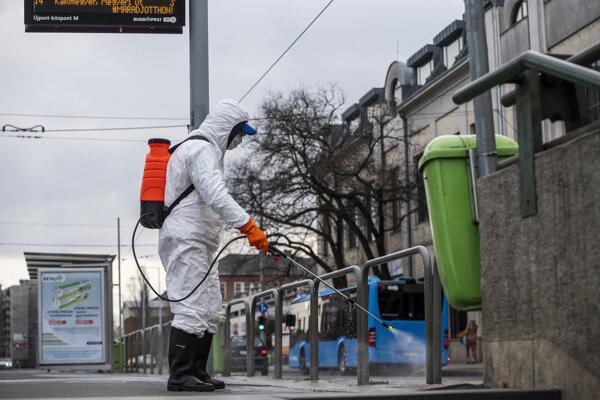 Dezinfekcia na uliciach v Budapešti.