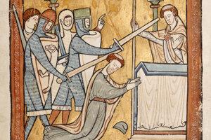 Výjav vraždy Tomáša Becketa, arcibiskupa Canterburského.