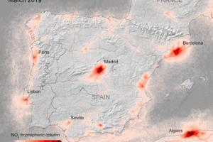 Koncentrácie oxidu dusičitého nad Španielskom v marci 2019.
