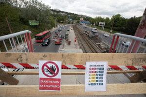Úsek električkovej trate počas poslednej etapy modernizácie Dúbravsko-Karloveskej radiály v Bratislave.