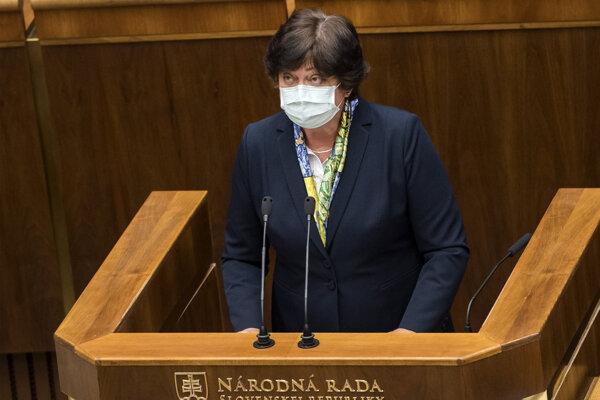 Verejná ochrankyňa práv Mária Patakyová vystúpila v sále parlamentu s výročnou správou.