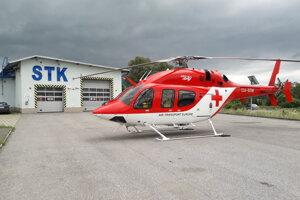 Záchranársky vrtuľník.