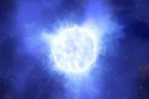 Ilustrácia žiarivej modrej premennej hviezdy. Jedna takáto zmizla zo vzdialenej galaxie. Vedci nevedia, čo sa mohlo stať.