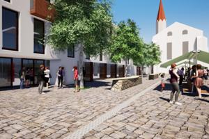 Nová trojpodlažná stavba vyrastie v tesnom dotyku s trhoviskom na Dominikánskom. Útvar hlavného architekta jej koncepciu odsúhlasil.