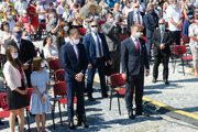 Premiér Igor Matovič a predseda Národnej rady Boris Kollár na celonárodnej púti v Nitre.