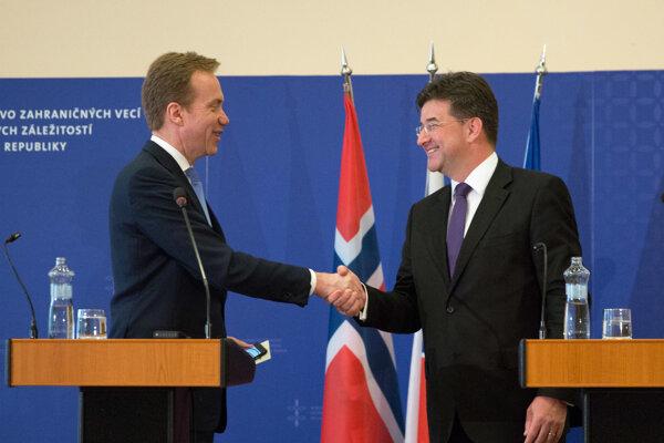Minister zahraničných vecí Miroslav Lajčák a minister zahraničných vecí Nórska Borge Brende.