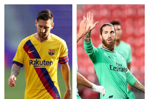 Lionel Messi (vľavo) z FC Barcelona a Sergio Ramos z Real Madrid.