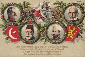 Vládcovia z Ústredných mocností – nemecký cisár Viliam II., rakúsko-uhorský cisár a kráľ František Jozef I., turecký sultán Mehmed V. a bulharský cár Ferdinand I.