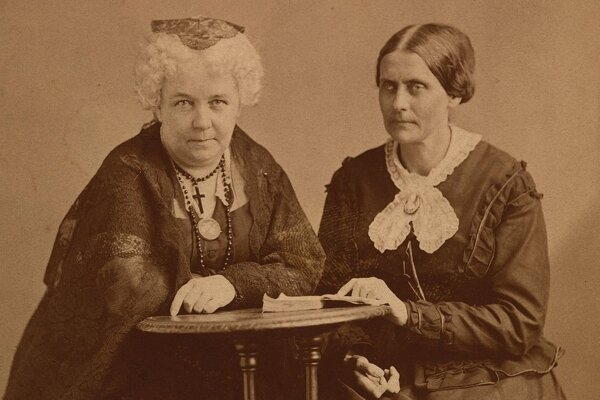 Elizabeth Cady Stantonová (vľavo) a Susan Anthonyová (vpravo)