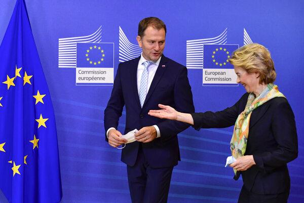 Predsedníčka Európskej komisie Ursula von der Leyenová a slovenský premiér Igor Matovič.